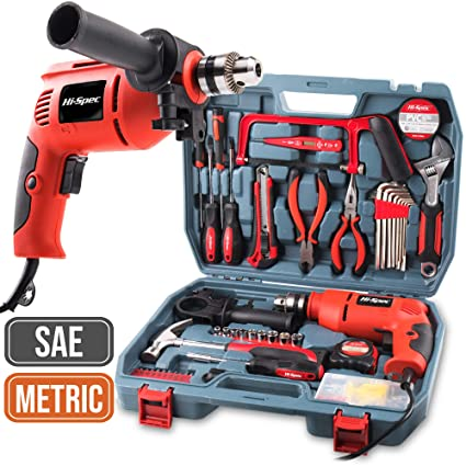 Hi-Spec 300W AC Corded Power Drill & 130pc Hand Tool Set Combo Kit with  Hacksaw, Pliers, Claw-Hammer, Wrench, Box Cutter, Hex Keys, Screwdrivers,