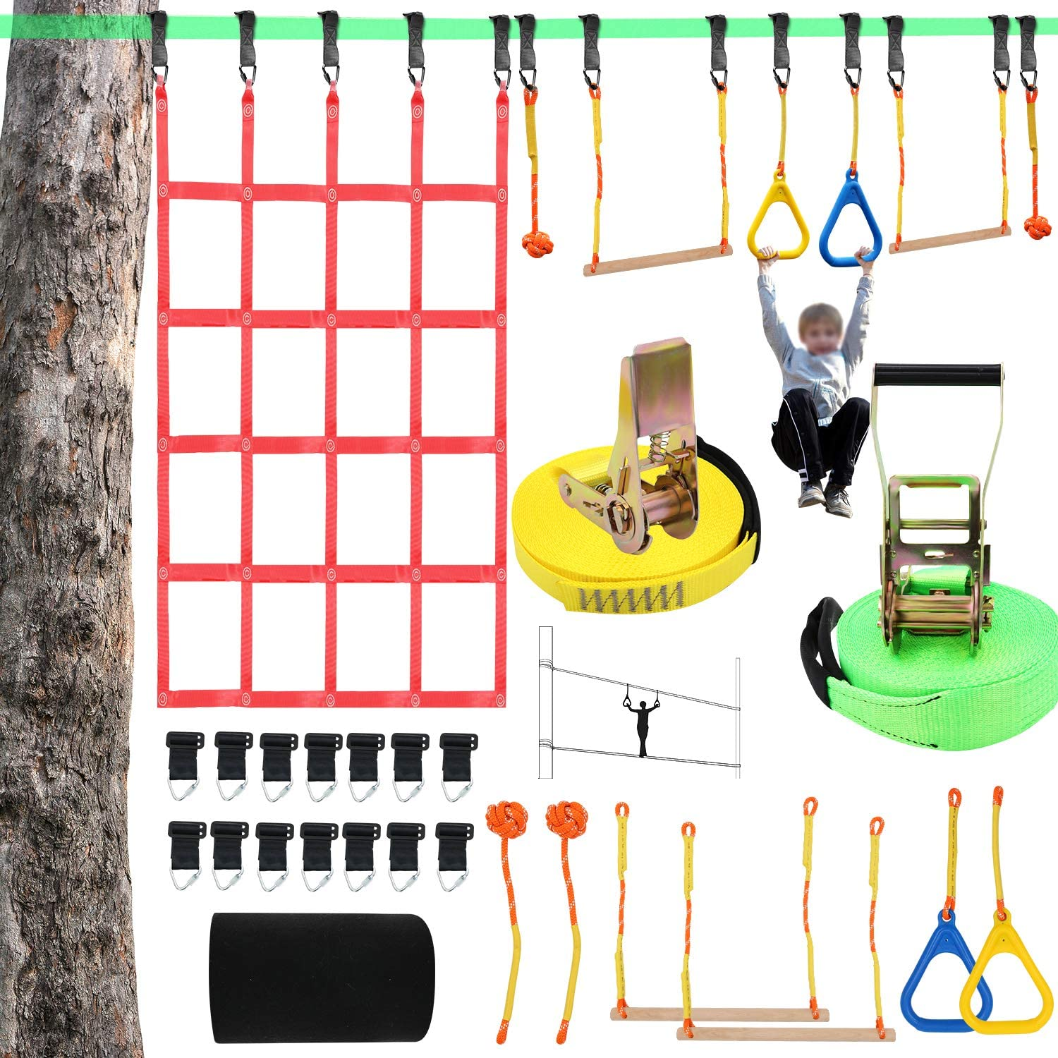 """X XBEN Obstacle Course Kids 50' Slackline Kit, Ninja Warrior Training Equipment for Adult, Come with Jungle Gym Monkey Bars, 78.7"""" 47.2"""" Climbing Net, Gymnastic Bar"""
