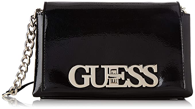 GUESS UPTOWN CHIC Logo Crossbody Flap Nero, Borsa Donna a