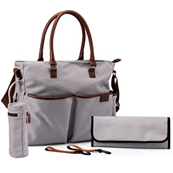 Amazon.com : Aautoo Canvas Travel Diaper Tote Bag with 13 Pockets ...