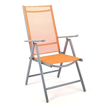 Nexos Klappstuhl Aluminium Gartenstuhl Alu Campingstuhl Verstellbar Orange  Metall
