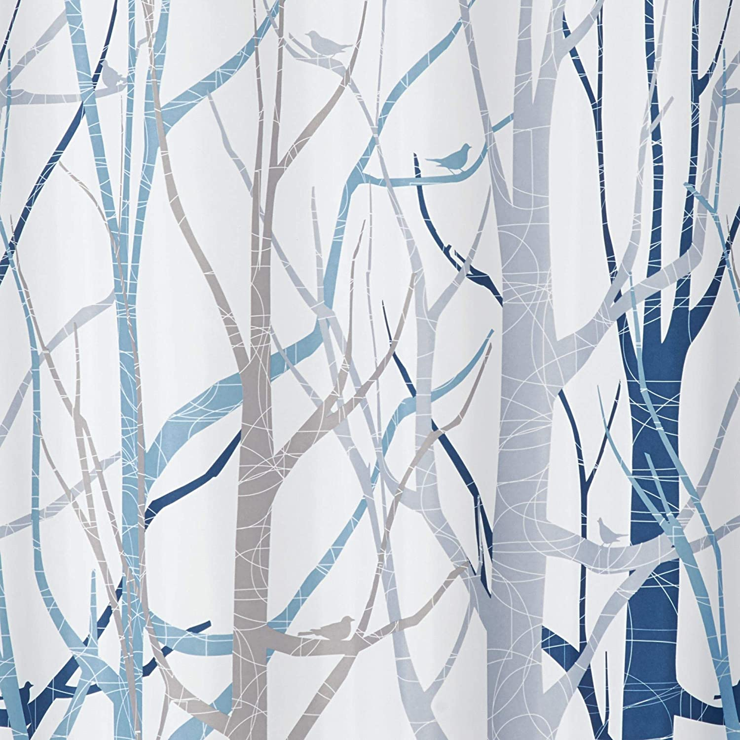 InterDesign Forest Fabric Shower Curtain 72x72-Inch Blue and Gray