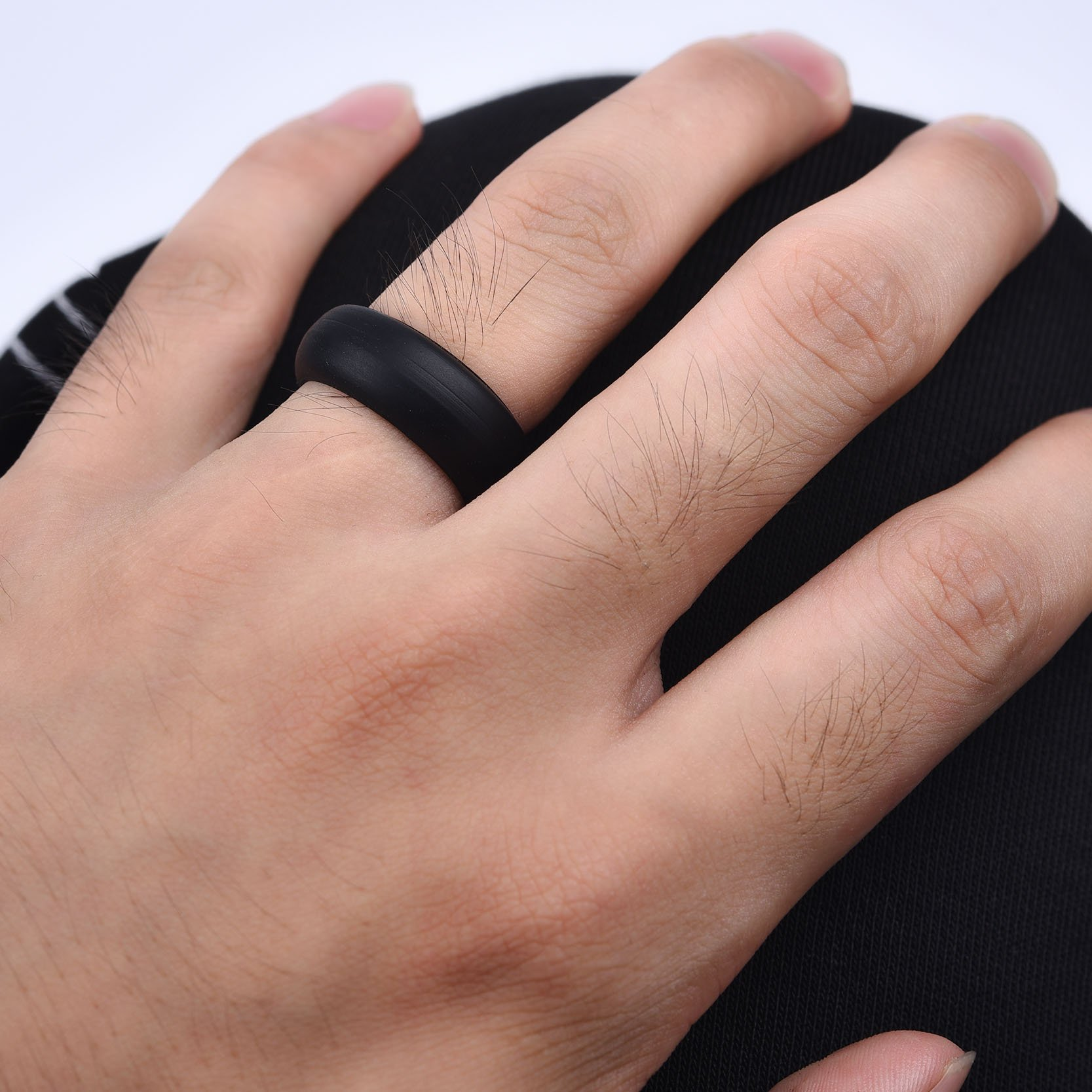 OBSEDE Women Men Vogue Wedding Silicone Ring Smooth Comfort Band Ring Set 6 Pack Size 10 by OBSEDE (Image #5)