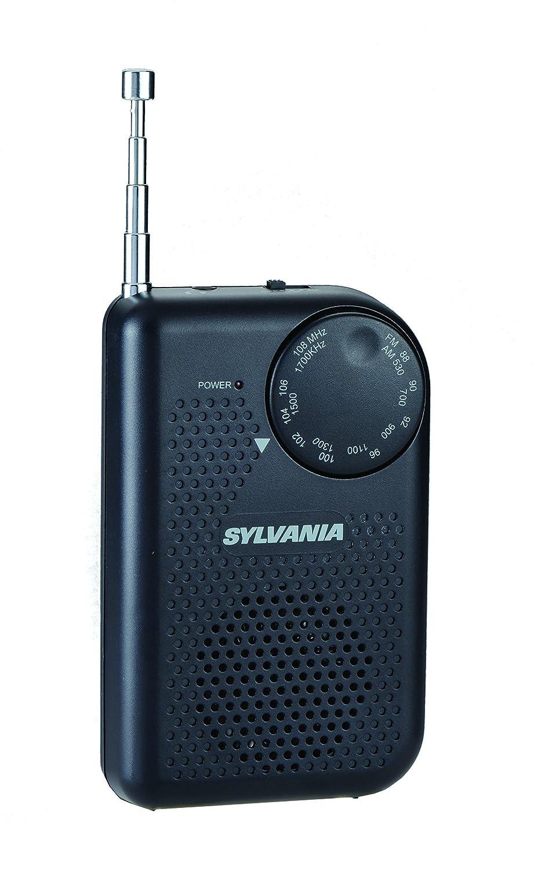 Sylvania Portable AM/FM Pocket Radio with Built-In Speaker, Black SRC100-BLACK