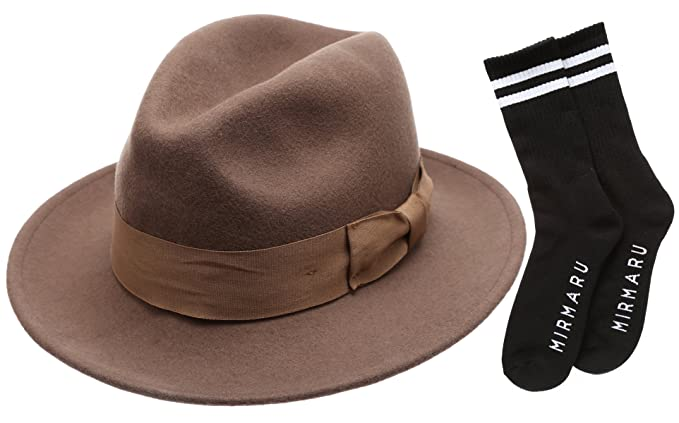 Men s Premium Milano Wool Felt Fedora Grosgrain Band Hat with Socks ... 218513cf853e