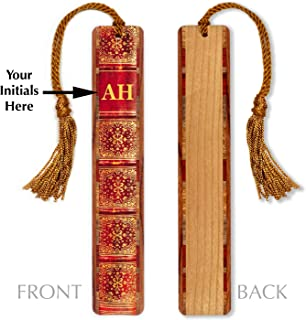 product image for Monogrammed Wooden Bookmark - Antique Look Book Spine with Tassel