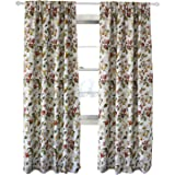 "Clacoco Floral Blackout Rod Pocket Curtain - Rod Pocket Room Darkening Window Curtain for Bedroom 42"" W 84"" Long"