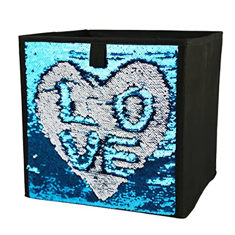 Two Tone Sequins Storage Bins Fabric Foldable Cube Organizer  Drawer,12u0026quot;X12u0026quot;X12u0026quot