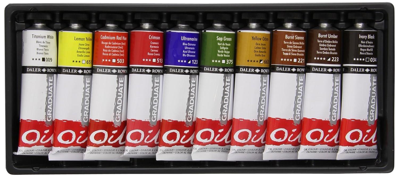 Daler Rowney Confezione da 10 colori a olio Graduate, 38 ml 117900100