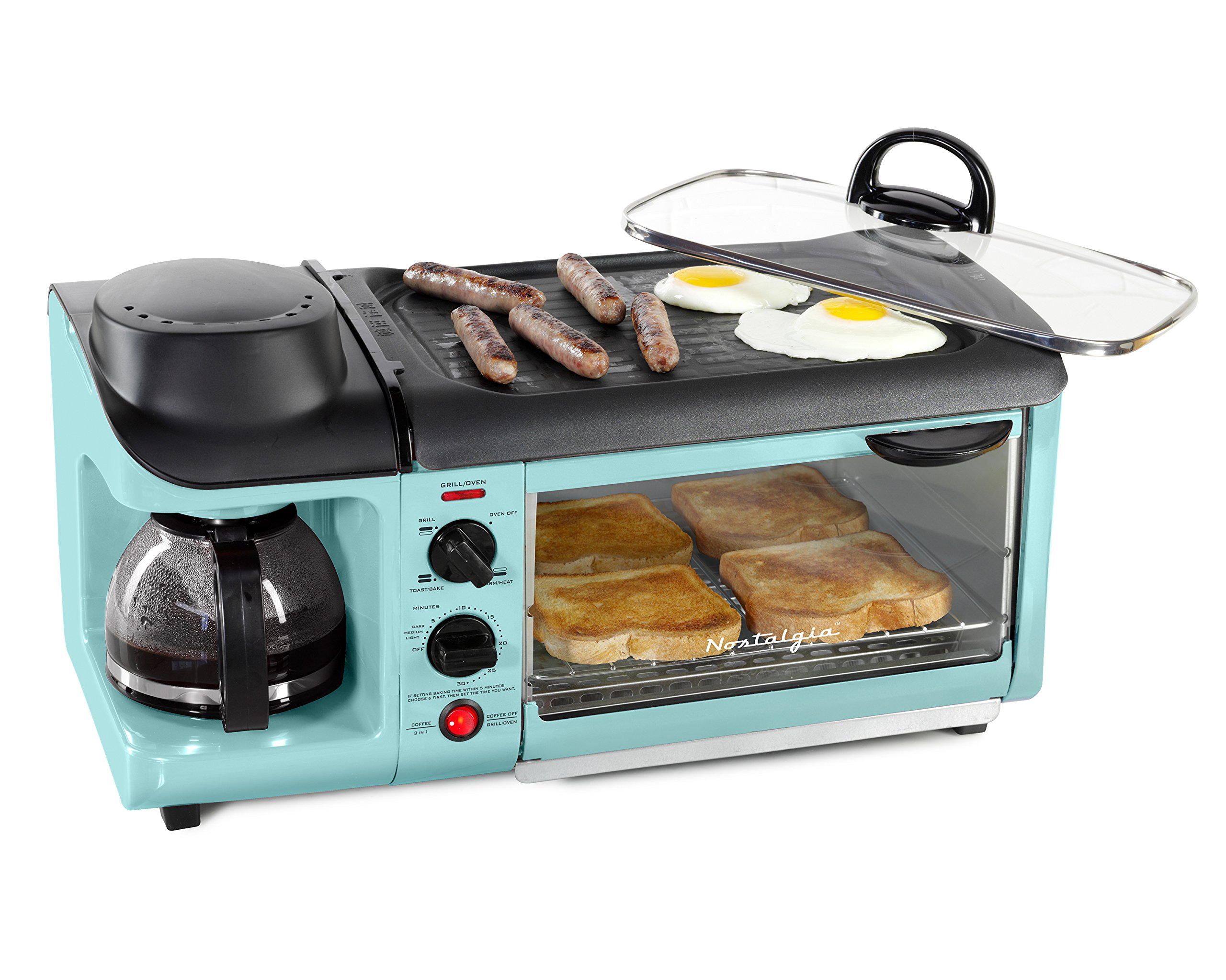 NOSTALGIA BSET300AQ Retro 3-in-1 Family Size Breakfast Station, Coffeemaker, Toaster Oven, Griddle, Aqua by Nostalgia