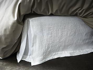 Cache sommier   Lin lavé   uni Blanc BLANC CERISE 160x200 cm