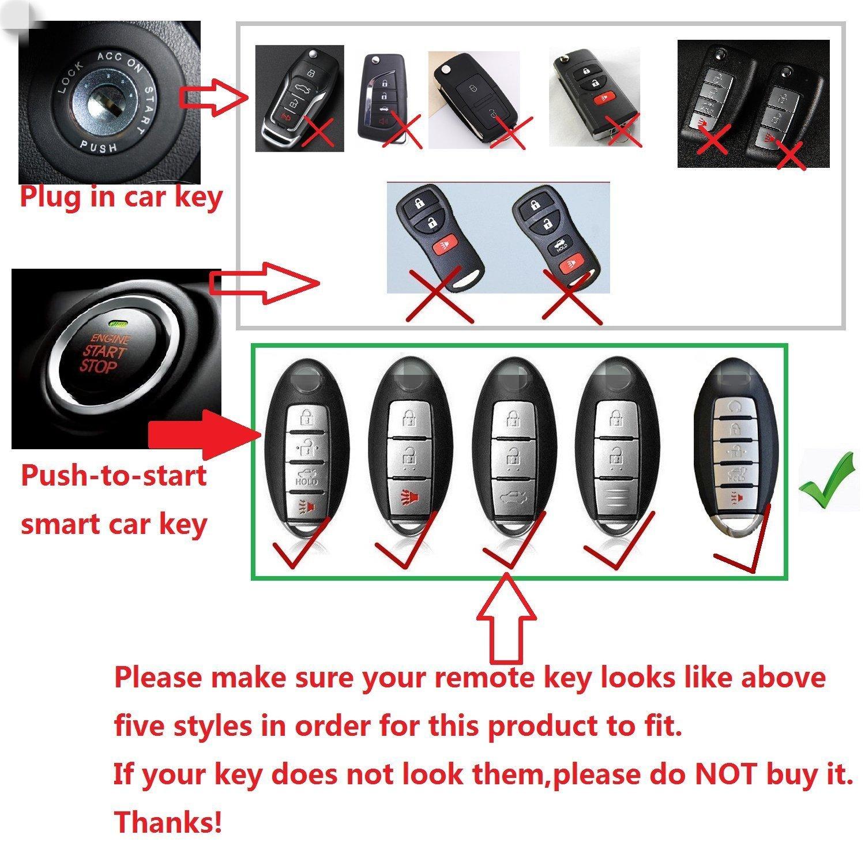 TM Luxury Aircraft Aluminum Smart 3//4//5 Buttons car Remote Key Fob case Cover for Infiniti Nissan Murano Pathfinder Titan Maxima Sylphy Lannia Livina NV200 Tiida Teana Qashqai Sunny Silver Royalfox