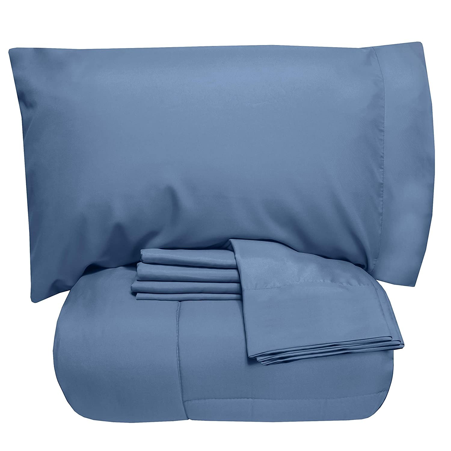 Sweet Home Collection 7 Piece Comforter Set Bag Solid Color All Season Soft Down Alternative Blanket & Luxurious Microfiber Bed Sheets Full Denim