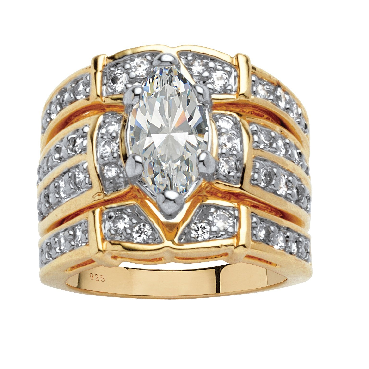 Marquise-Cut White Cubic Zirconia 18k Gold over .925 Silver 3-Piece Multi-Row Bridal Ring Set Size 10
