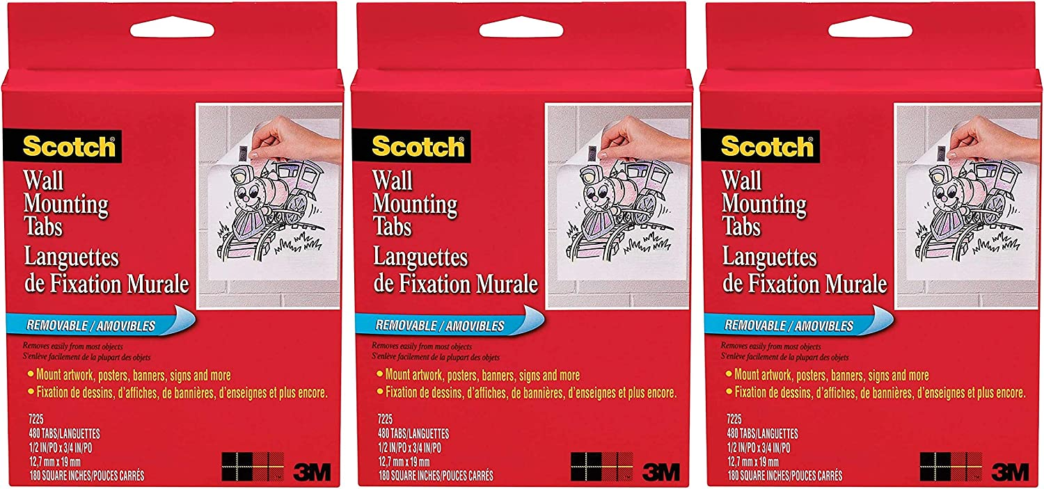1//2-inch x 3//4 Inches 480 Tabs per Box Scotch Wall Mounting Tabs 7225