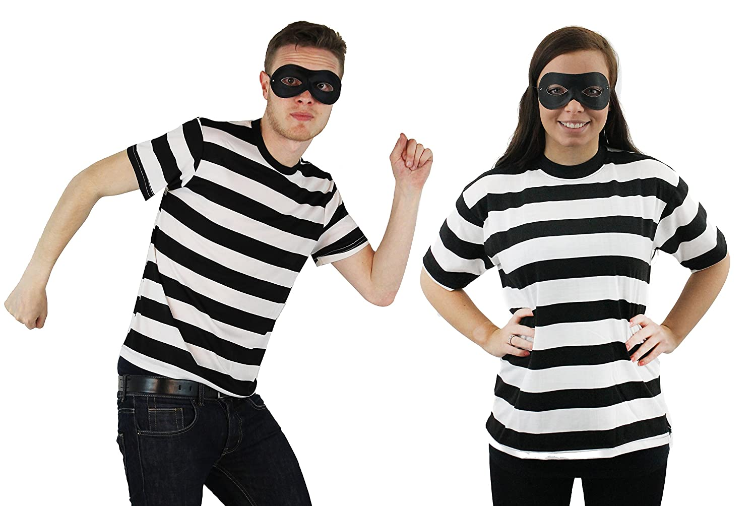 Classic Robber Burglar Couples Costume Set with Striped Tops and Eye Masks
