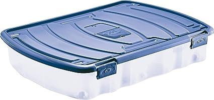 M Home Pls527 26 Boite De Rangement Sous Lit Polypropylene Bleu 48 Cm Amazon Fr Cuisine Maison