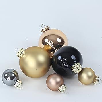 Christbaumkugeln Schwarz Gold.Weihnachtskugeln Christbaumkugeln 12er Set Gold Schwarz Grau 3 6 Cm