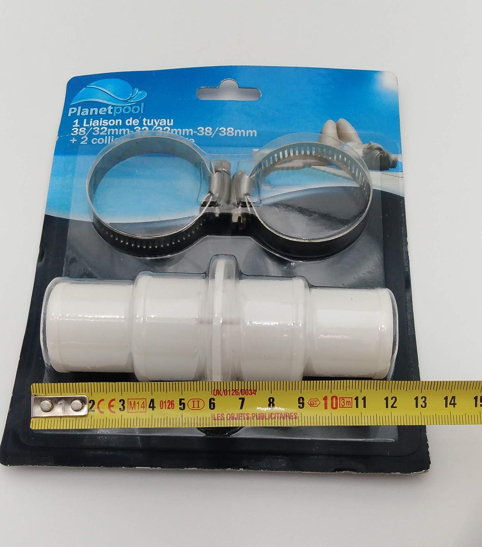 Liaison raccord 38 32 MM pour 2 tuyaux flottants de pisicne Blanc Norme CE
