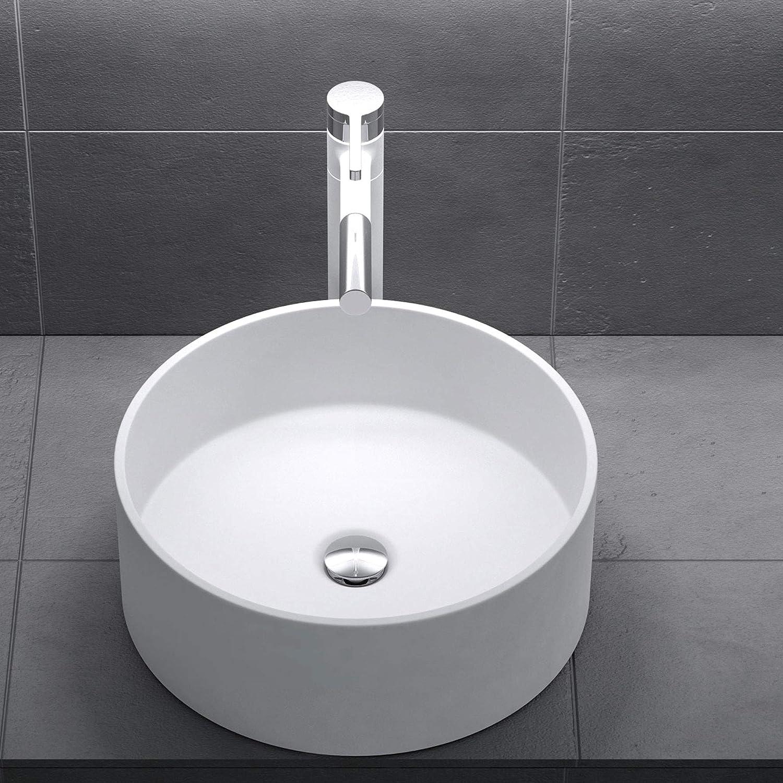 Mai /& Mai 59,8x36x14cm Waschbecken oval Colossum809 Aufsatzwaschbecken in Anthrazit matt ohne Hahnloch und /Überlauf