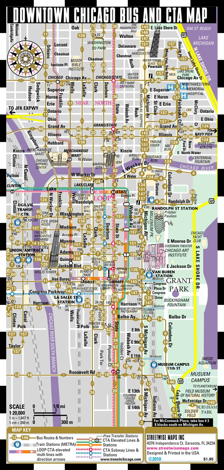 Streetwise Chicago Bus CTA Metra Map Laminated Chicago Metro
