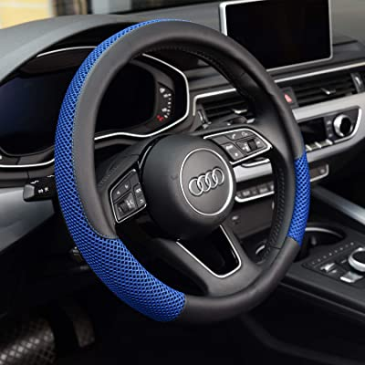 KAFEEK Steering Wheel Cover, Universal 15 inch, Microfiber Leather Viscose, Breathable, Anti-Slip,Warm in Winter and Cool in Summer, Black&Blue: Automotive