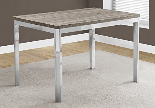 Monarch Specialties I DINING TABLE – 32 X 48 DARK TAUPE CHROME METAL, 47.5 L x 31.5 D x 30 H,