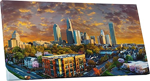 Pingo World 0707Q4YM5IS Charlotte Sunset Skyline Panoramic Gallery Wrapped Canvas Wall Art 45″ x 20″