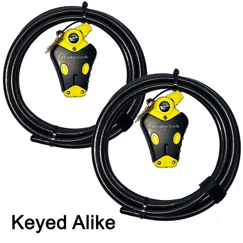 Master Lock - Two 12 ft Python Adjustable Cable Locks Keyed Alike, #8413KACBL-12-12