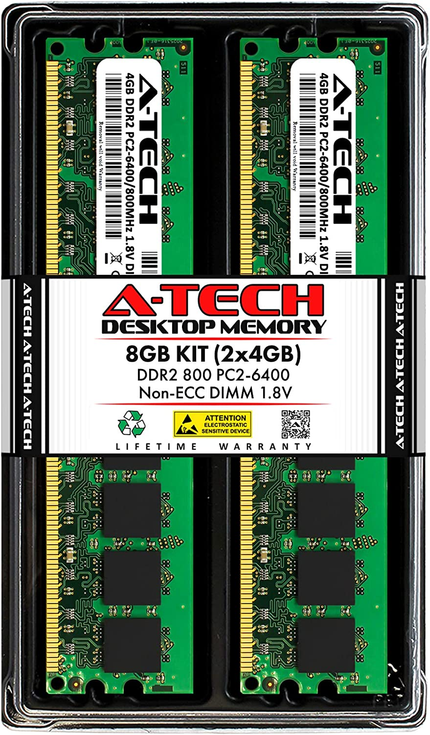 A-Tech 8GB (2x4GB) DDR2 800MHz DIMM PC2-6400 1.8V CL6 240-Pin Non-ECC UDIMM Desktop RAM Memory Upgrade Kit