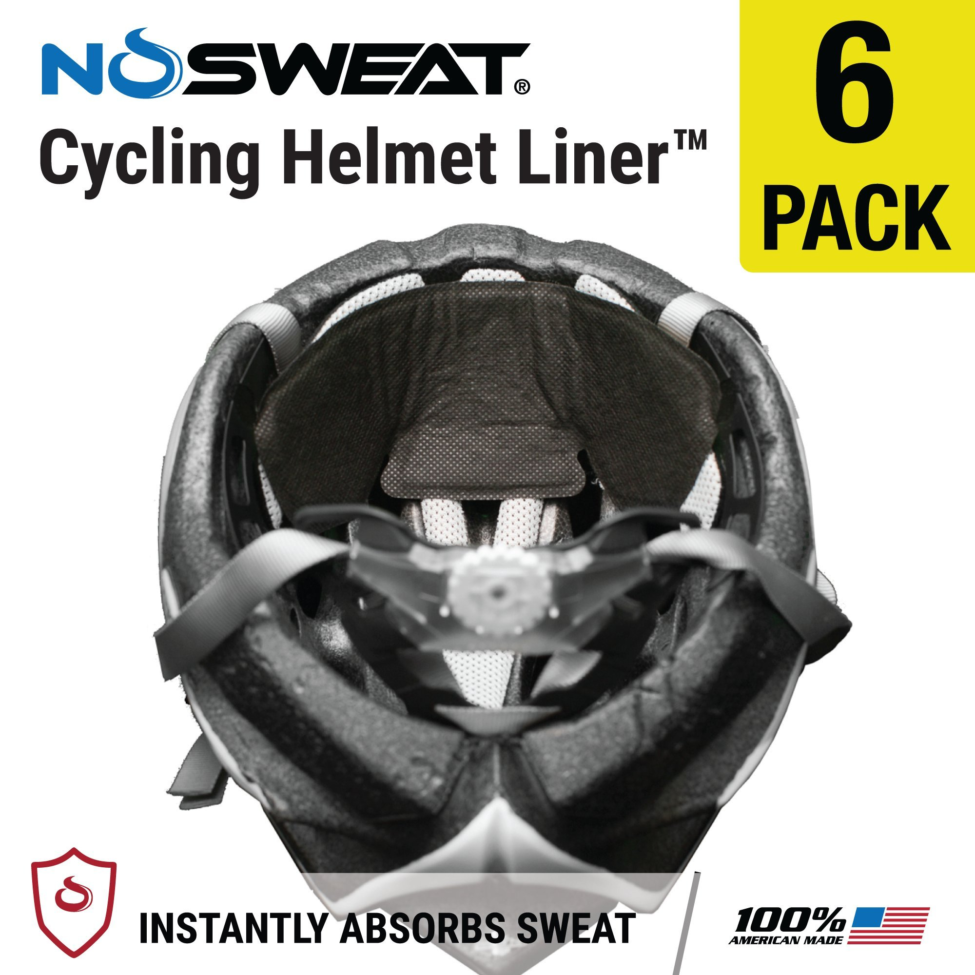 NoSweat Bike/Cycling Helmet Liner & Sweat Absorber (6 Pack)