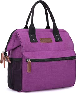 Insulated Lunch Bag, Wide-Open Lunch Box for Work/Picnic/Hiking/Beach/Fishing, Water-Resistant Leakproof Lunch Tote Bag for Women and Men (Wine Red)