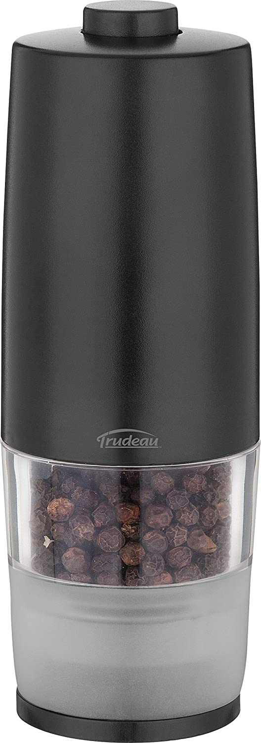 Trudeau One-Hand Battery Operated Pepper Mill, Black