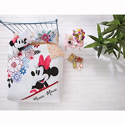 TAC Disney Minnie Mouse Watercolour%100 Cotton Bedding Set Licenced Product Quilt Cover Set Duvet Cover Pillow Case Fitted Sheet - Queen Size: Home & Kitchen [5Bkhe1001233]