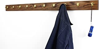 """product image for PegandRail Oak Coat Rack with Solid Brass Single Style Hooks (Chestnut, 52"""" x 3.5"""" with 10 hooks)"""