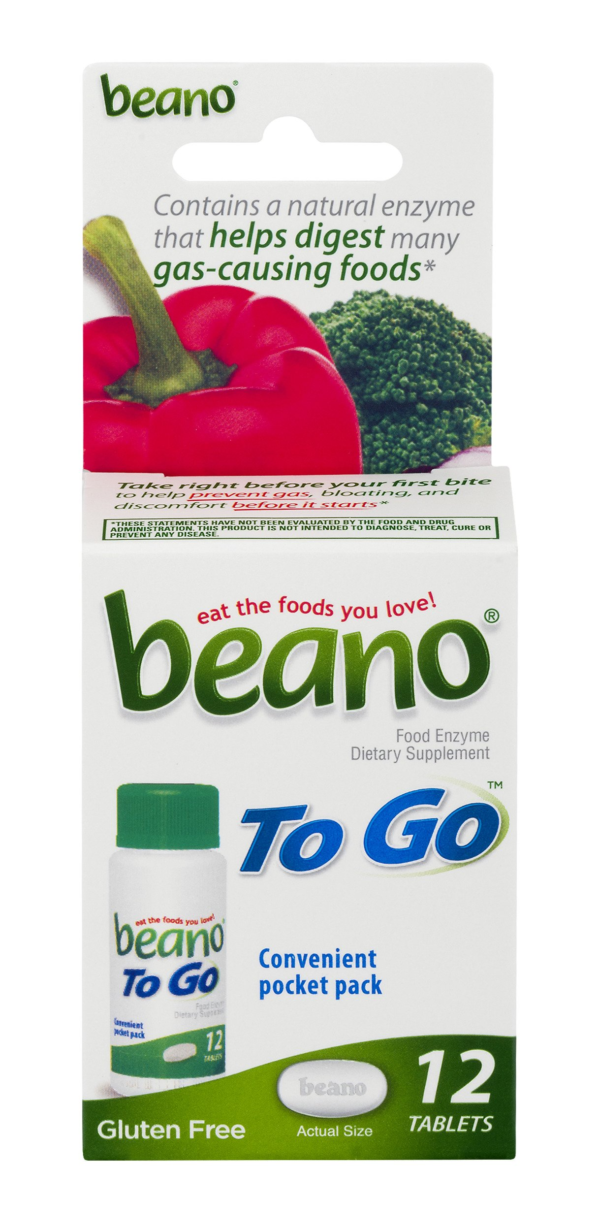 Beano To Go Food Enzyme Dietary Supplement | Help Digest Gas-Causing Foods | 12 Tablets| Pocket Pack Size | Packaging May Vary