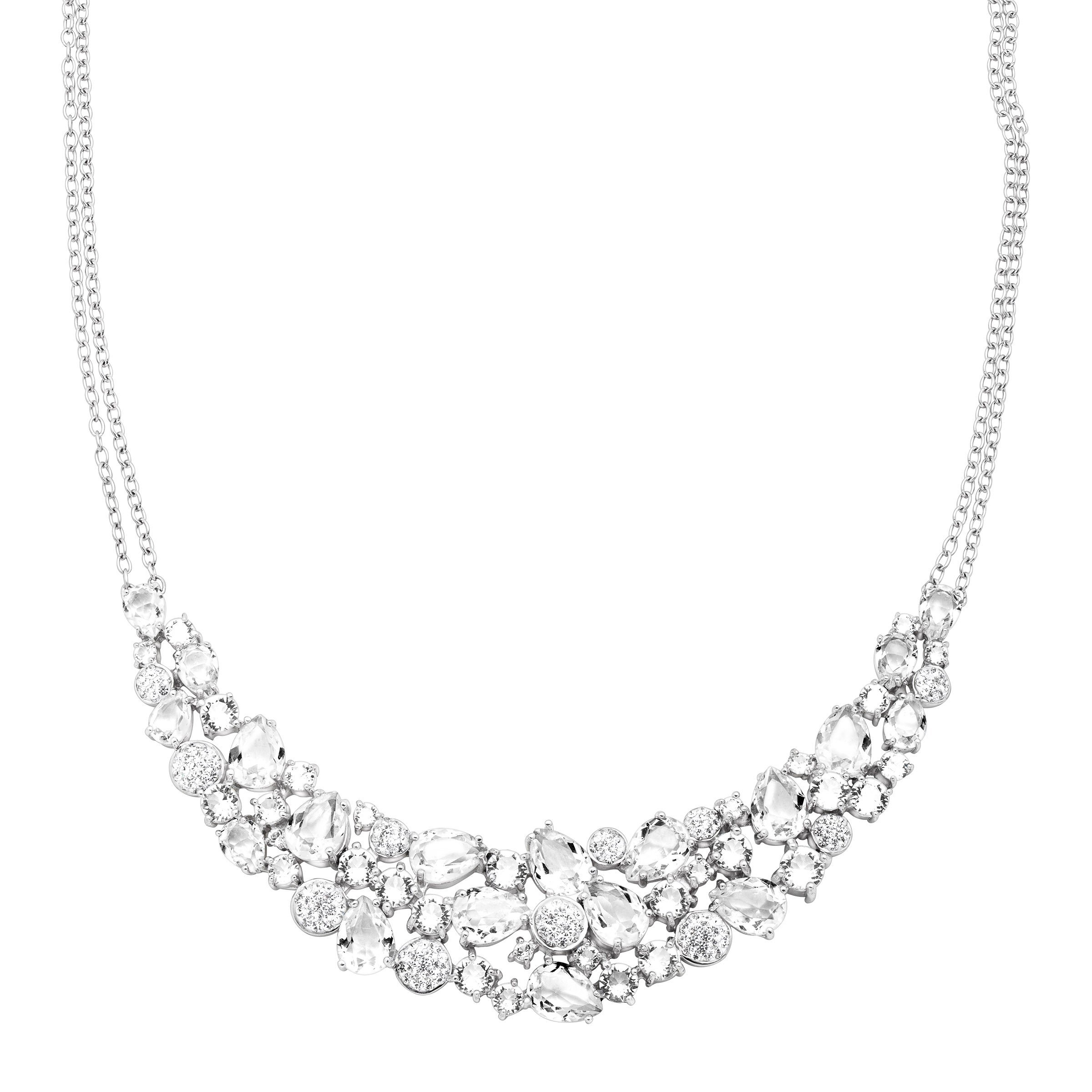 Crystaluxe Garland Bib Necklace with Swarovski Crystals in Sterling Silver