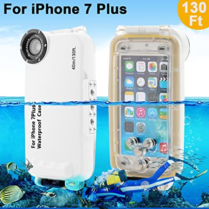 AIGUMI iPhone 7/7 Plus Carcasa Impermeable, 40 m Diving Case Buceo Bolsa de teléfono Impermeable IPX8 Impermeable Carcasa con 32 mm Rosca