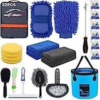 AUTODECO 22Pcs Car Wash Cleaning Tools Kit Car Detailing Set with Blue Canvas Bag Collapsible Bucket Wash Mitt Sponge…