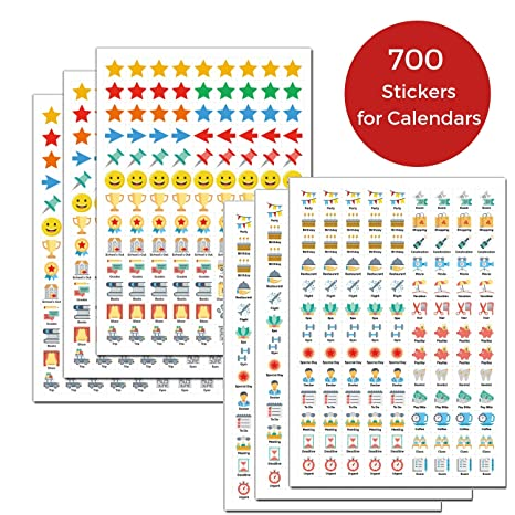 Daily Planner Stickers for Calendars: (Set of 700), 46 Unique Designs, Calendar Stickers for Bullet Journal, Daily Planner, Agenda or Notebook, ...