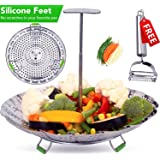 """THE ORIGINAL Vegetable Steamer Basket 5.5-9.3""""- Extendable Handle, Foldable Legs with Silicone Feet. Food Steamer for Instant Pot Pressure Cooker.100% Stainless Steel (SS Ext.Handle -Std)"""