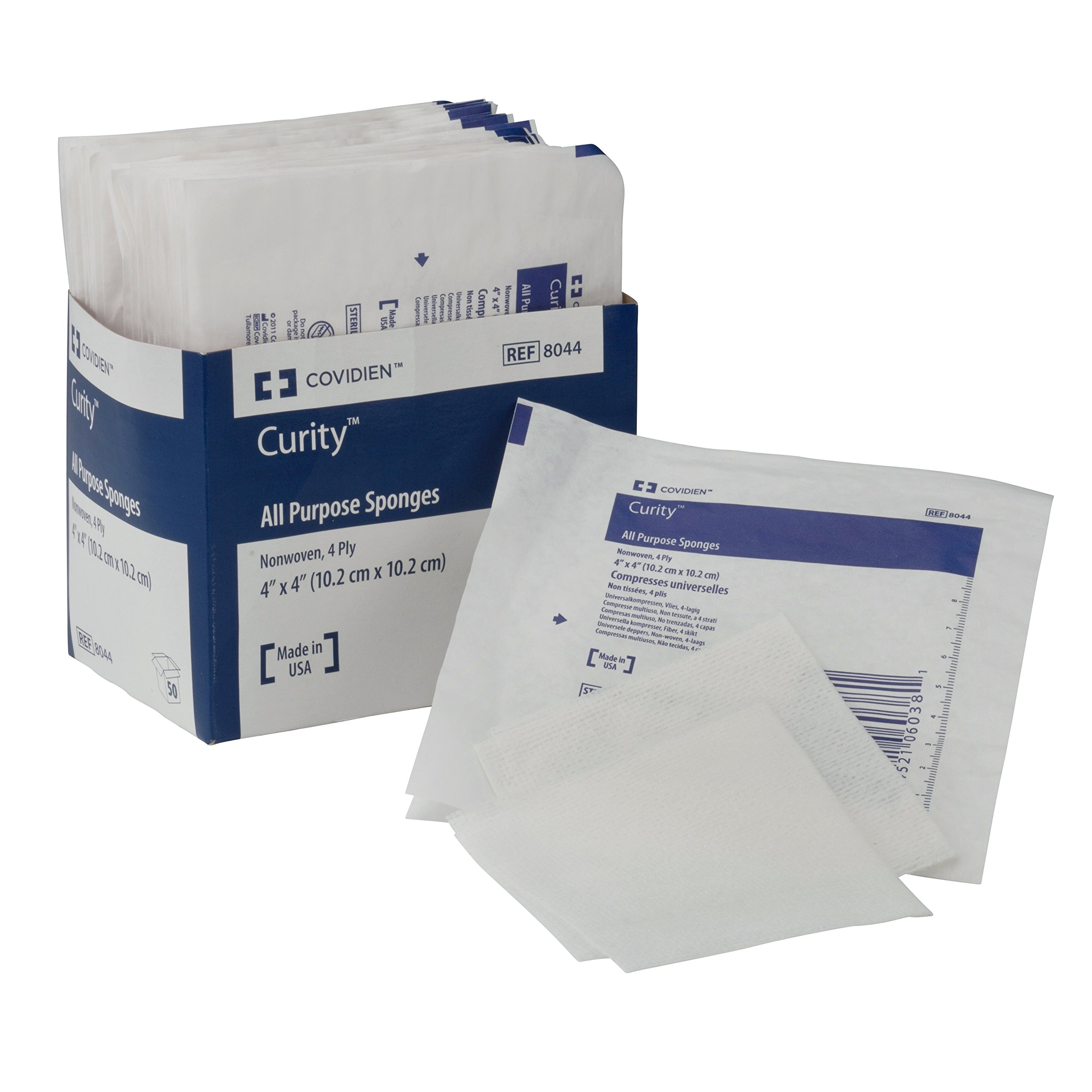"""Covidien 8044 Curity Non-Woven All-Purpose Sponge, Sterile 2's in Peel-Back Package, 4"""" x 4"""", 4-ply (Pack of 25)"""