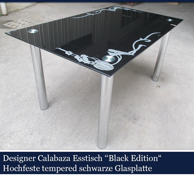 amazing calabaza designer esstisch black edition esszimmer tisch glastisch glas designer schwarz cm x cm x cm de kche u haushalt with mit schwarzer