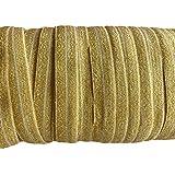 "YYCRAFT 5/8"" 15 yards Glitter Fold Over Elastic Stretch Foldover FOE Elastics for Hair Ties Headbands (Gold)"