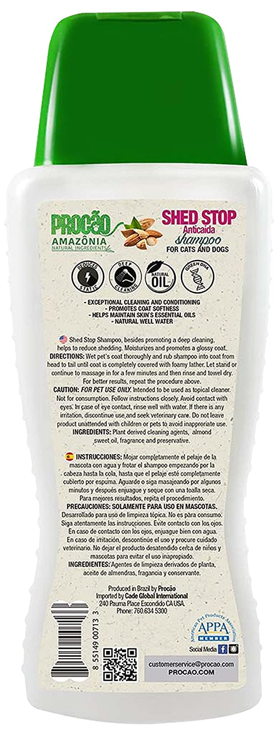 PROCÃO: Pet Shampoo Basics - Sustainably Sourced from Amazon Rainforest - No Parabens or Dyes - Tearless - Essential Oils