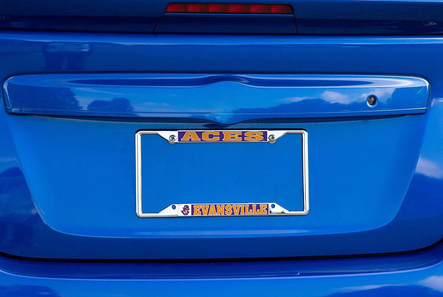Desert Cactus University of Evansville Purple Aces NCAA Metal License Plate Frame for Front Back of Car Officially Licensed Mascot