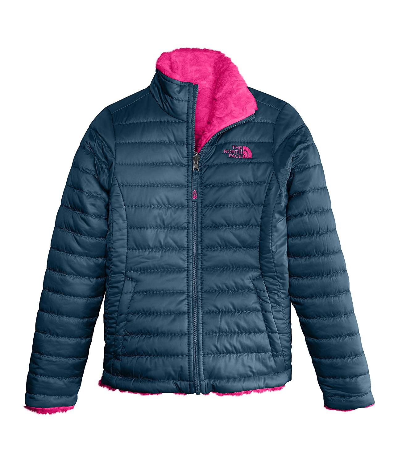 Blue Wing Teal Medium Little Kids//Big Kids The North Face Kids Girls Reversible Mossbud Swirl Jacket