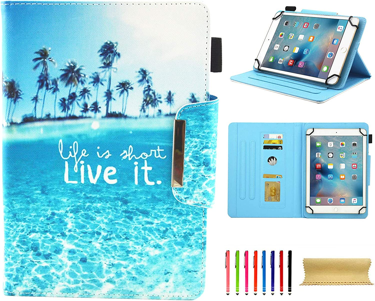 Universal Case for 7.0 Inch Tablet, Techcircle Slim PU Leather Stand Folio Wallet Case for Samsung Galaxy Tab E Lite, Acer Iconia One 7, Google/RCA and More 7-inch Android Tablet, Live It