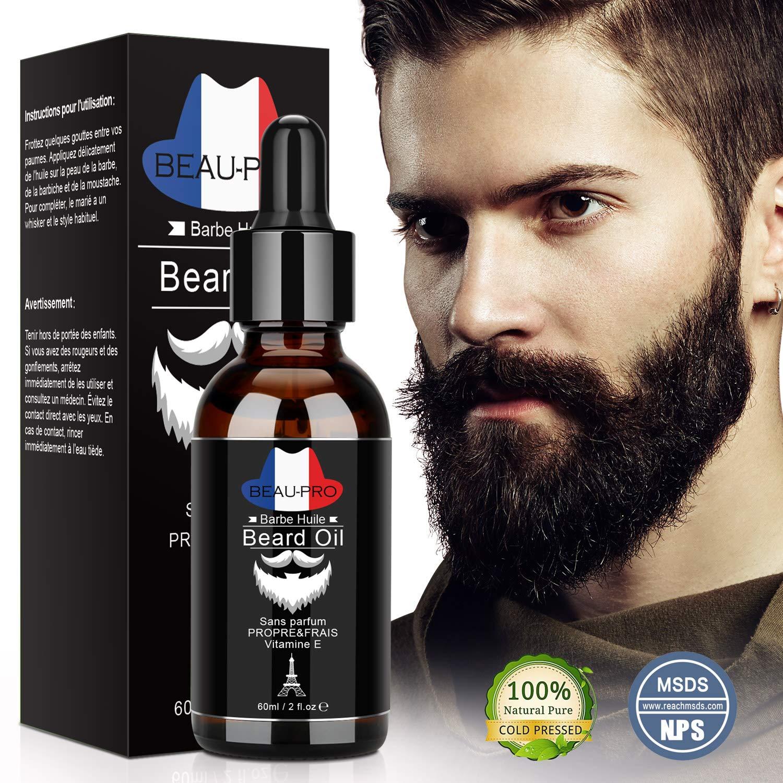 Huile Barbe 100% Bio, Soin de la barbe pour Homme, Huile Hydratante pour Barbe - Favorise la Pousse de la Barbe - Contient de l'Huile de Ricin, de Jojoba, d'Argan- Soin pour Barbe Bois de Santal 60 ml product image