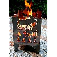 Feuerkorb XXL silber Fire Basket ✔ eckig